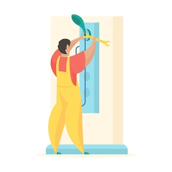 수리 샤워 실 제복을 입은 남자가 렌치로 물을 뿌릴 수 있습니다.
