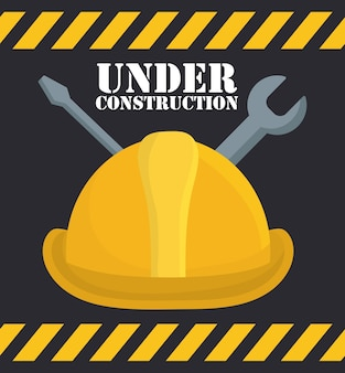 Repair tools and construction helmet icon