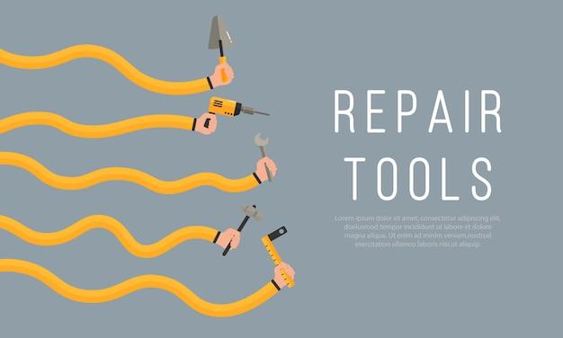 修復ツール。建設と改修の家のメンテナンス機器と男性と女性の手のフラットの図。人間の手は作業ツールを保持します。テキストの背景。 。