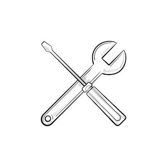 Инструменты ремонта рука нарисованные наброски каракули значок. перекрещенные отвертка и гаечный ключ как концепция услуг по ремонту и техническому обслуживанию недвижимости и жилья. векторная иллюстрация эскиз на белом фоне.