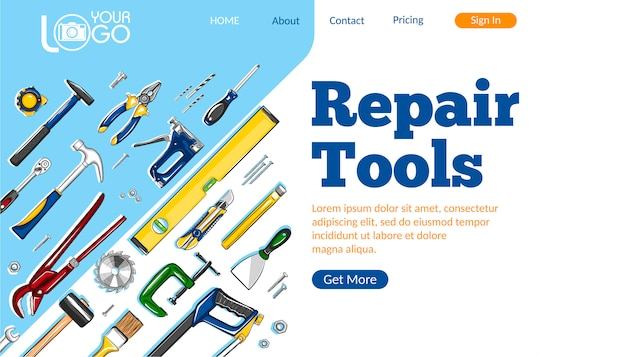 Repair tools landing page layout