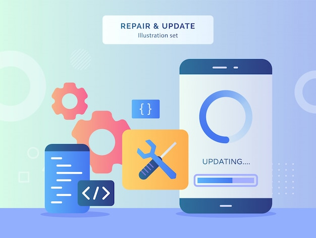 Repair and update illustration set updating data on display screen smartphone background of wrench screwdriver gear coding language program with flat style.