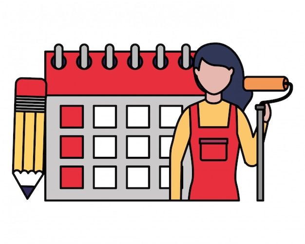 Repair woman calendar labor day