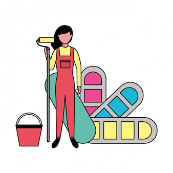 Repair woman with roller paint palette color