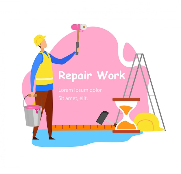 Repair work advertisement vector concept