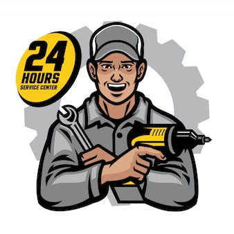 Repair worker smiling holding the wrench and drill