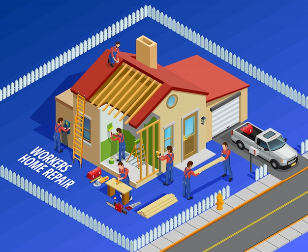 Repair works isometric template