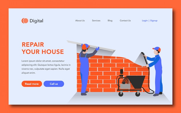 Repair your house landing page design