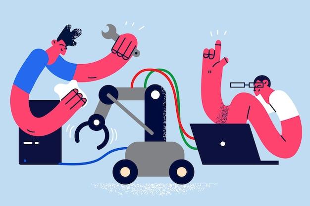 システムユニットの手動コンセプトを修復します。ラップトップの正しい作業ベクトル図のコンピュータシステムユニットを修理して座っている2人の若い労働者