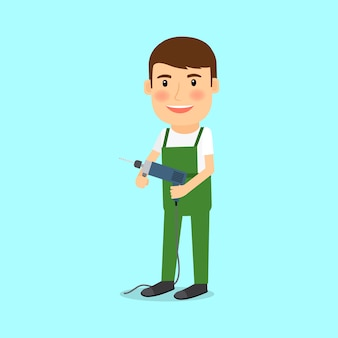 Repairman in cartoon style