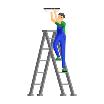 Repairman fitting lamp flat illustration. cheerful male electrician standing on ladder cartoon character. handyman in uniform fixing lamp to ceiling isolated on white
