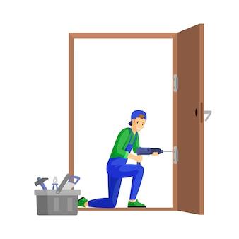 Ремонтник, крепежные двери плоской иллюстрации. петля двери профессионального работника подходящая используя персонажа из мультфильма электрической дрели. молодой плотник, мастер на работе, изолированные на белом