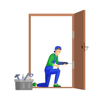 Repairman fixing door flat illustration. professional workman fitting door hinge using electric drill cartoon character. young carpenter, craftsman at work isolated on white