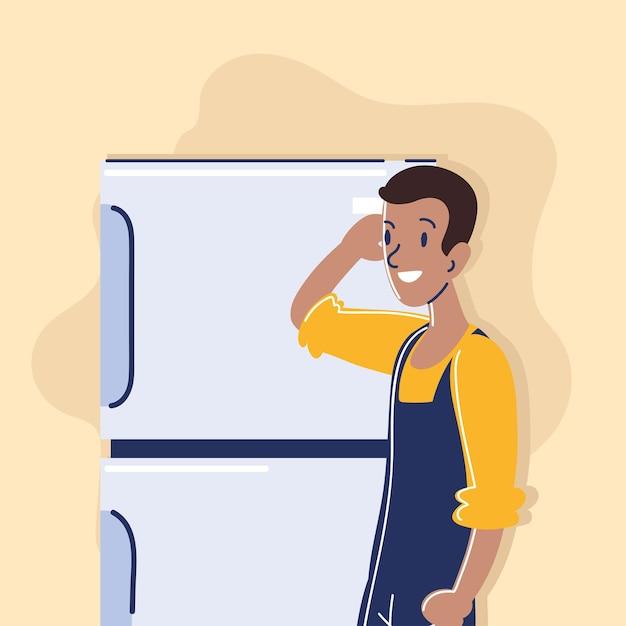 Repairman and fridge