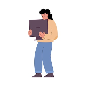 Repairman holding broken computer display cartoon vector illustration isolated