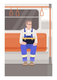 電車の修理工セミフラットベクトルイラスト。公共交通機関でツールボックスを保持している請負業者。通勤中の制服を着た男性技術者。商用利用のためのメトロパッセンジャーの2d漫画のキャラクター