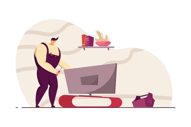 고객 집에서 균일한 고정 tv 세트 수리공. 전문 작업자, 도구, 기기 평면 벡터 일러스트 레이 션. 배너, 웹 사이트 디자인 또는 방문 웹 페이지에 대한 수리 서비스 개념