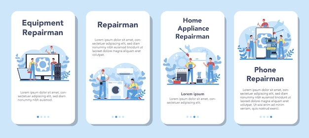 Repairman mobile application banner set. professional worker in the uniform repair electrical home appliance with tool. repairman occupation.