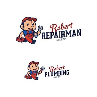 Repairman & plumber logo