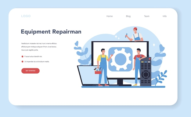 Repairman web banner or landing page. professional worker in the uniform repair electrical home appliance with tool. repairman occupation.