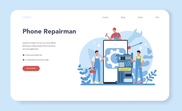 Repairman web landing page. professional worker in the uniform repair electrical home appliance with tool. repairman occupation. isolated vector illustration