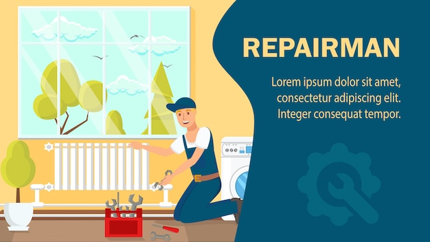 Repairman website banner vector template.