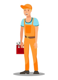 Repairman with tool box flat vector illustration