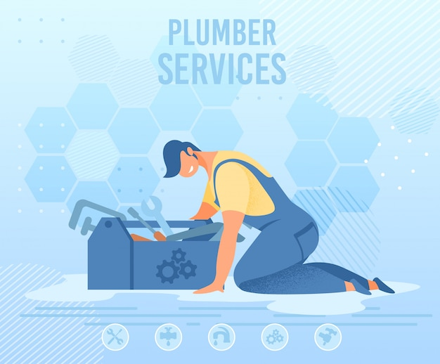 Repairman with tools box on plumber service banner