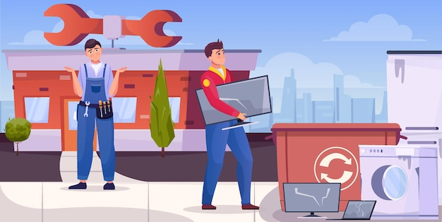 Repairmen throwing junk home technique for recycling flat illustration