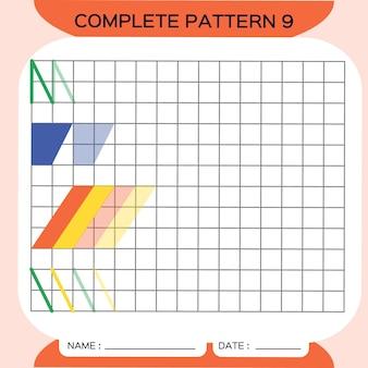 반복 패턴, pazzle. 사진을 복사합니다. 미취학 아동을 위한 특별. 미세 운동 기술을 연습하기 위한 인쇄 가능한 어린이 워크시트. 색상을 배우십시오. 주의력 운동. 교사 자원. 주황색. 벡터