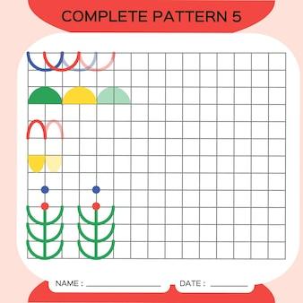 반복 패턴, pazzle. 사진을 복사합니다. 미취학 아동을 위한 특별. 미세 운동 기술을 연습하기 위한 인쇄 가능한 어린이 워크시트. 색상을 배우십시오. 주의력 운동. 교사 자원. 빨간색. 벡터.