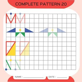 반복 패턴, pazzle. 사진을 복사합니다. 미취학 아동을 위한 특별. 미세 운동 기술을 연습하기 위한 인쇄 가능한 어린이 워크시트. 색상을 배우십시오. 주의력 운동. 교사 자원. 빨간색.