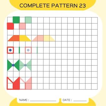 반복 패턴, pazzle. 사진을 복사합니다. 미취학 아동을 위한 특별. 미세 운동 기술을 연습하기 위한 인쇄 가능한 어린이 워크시트. 색상을 배우십시오. 주의력 운동. 교사 자원. 노란색 벡터