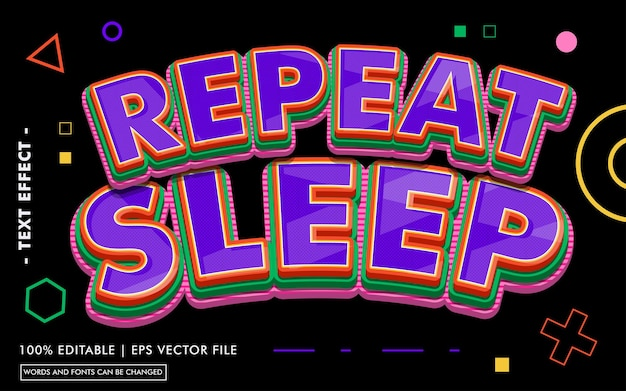 Repeat sleep text effect style