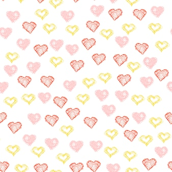Repeated handdrawn hearts. vector illustration. heart seamless background for design t-shirt,wedding card, bridal invitation, valentine s day poster,brochures,album, textile fabric, garment, scrapbook