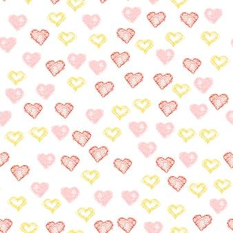 繰り返される手描きの心。ベクトルイラスト。デザインtシャツ、ウェディングカード、ブライダル招待状、バレンタインデーのポスター、パンフレット、アルバム、テキスタイルファブリック、衣服、スクラップブックのハートのシームレスな背景