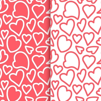 Repeated outlines of hearts drawn by hand. romantic seamless pattern set. endless cute print. girly illustration