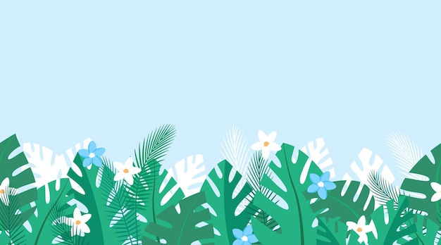 Repeated pattern with tropical plants and blue and white flowers summer background with palm leaves