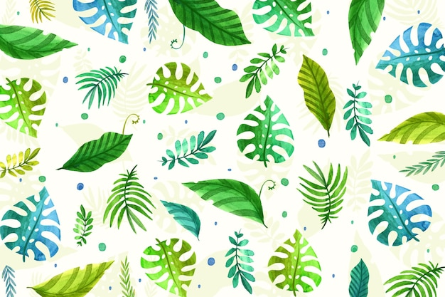 Repeated tropical leaves wallpaper