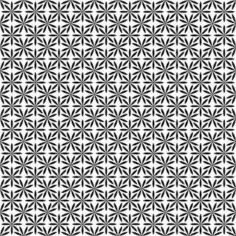 Repeating abstract monochrome stylized flower pattern - geometric floral vector background from curved shapes