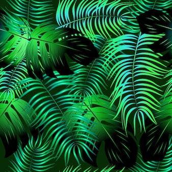 繰り返します。自由奔放に生きるスタイル。熱帯の葉とシームレスなパターン。