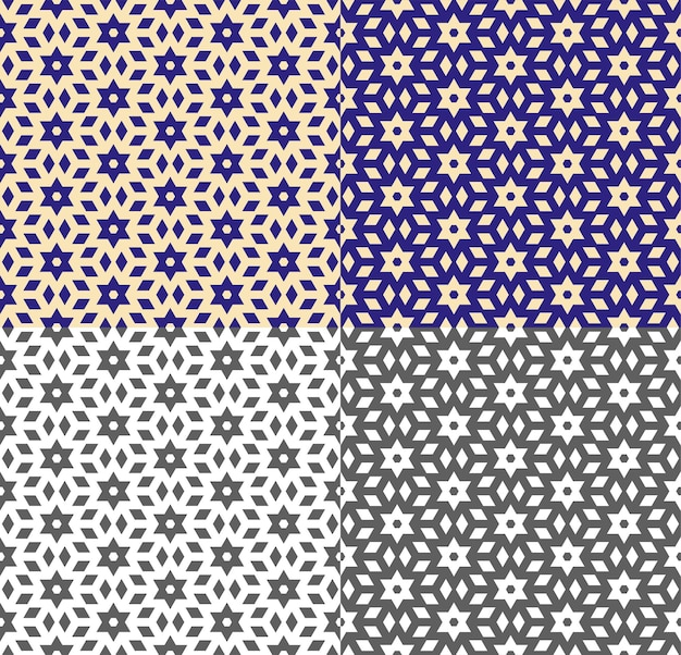 エスニックスタイルで繰り返される幾何学模様。青、黄、モノクロの背景とのシームレスなテクスチャ。壁紙、パッケージ、ファブリックプリントのベクトルテンプレート。シンプルな形。色の反転。