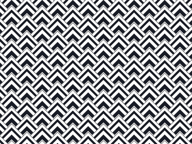 Repeating geometric triangle pattern background in black and white color.