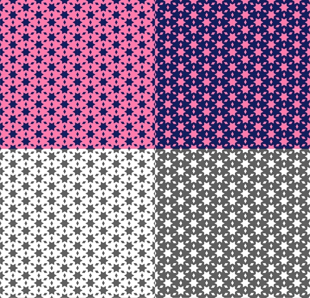 星、多角形でシームレスなパターンを繰り返します。ピンク、紫、モノクロの背景を持つエスニックスタイルの幾何学的な装飾。壁紙、ファブリック、背景、テキスタイルのベクトルテクスチャ。色の反転。