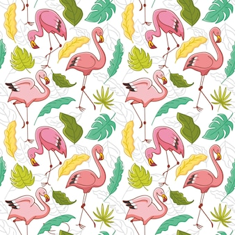 Repetitive pink flamingo bird pattern with tropical leaves
