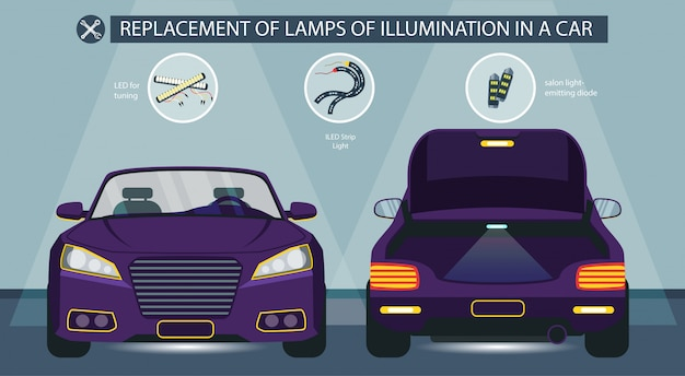Replacement of lamps illumination in car vector