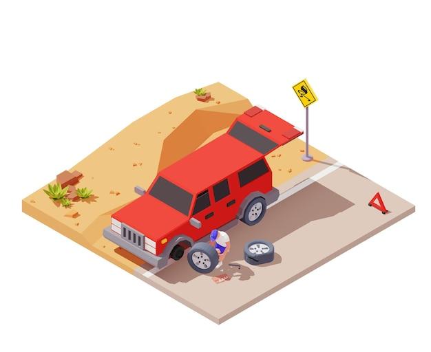 道路のイラストで車のホイールを交換する