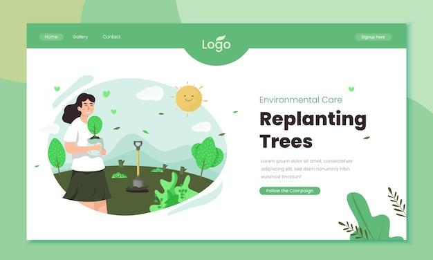 Пересадка деревьев для иллюстрации заботы об окружающей среде на шаблоне домашней страницы