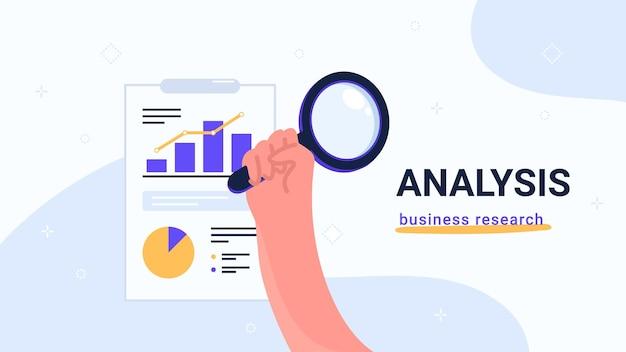 Анализ отчетов и бизнес-исследования. плоские векторные современные иллюстрации человеческой руки держит желтую лупу, чтобы проверить диаграмму и диаграмму на блокноте. концептуальный дизайн баннеров, промо и лендингов