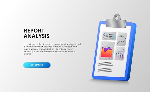 財務、ビジネス、会計、オフィス向けのクリップボード3dによるレポートおよびデータ統計グラフ分析。ランディングページテンプレート